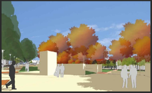 Scape drew this: it's a view from the corner where the Memorial Grove now stands. Look at those deciduous trees.