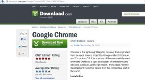 Google chrome CNET download button